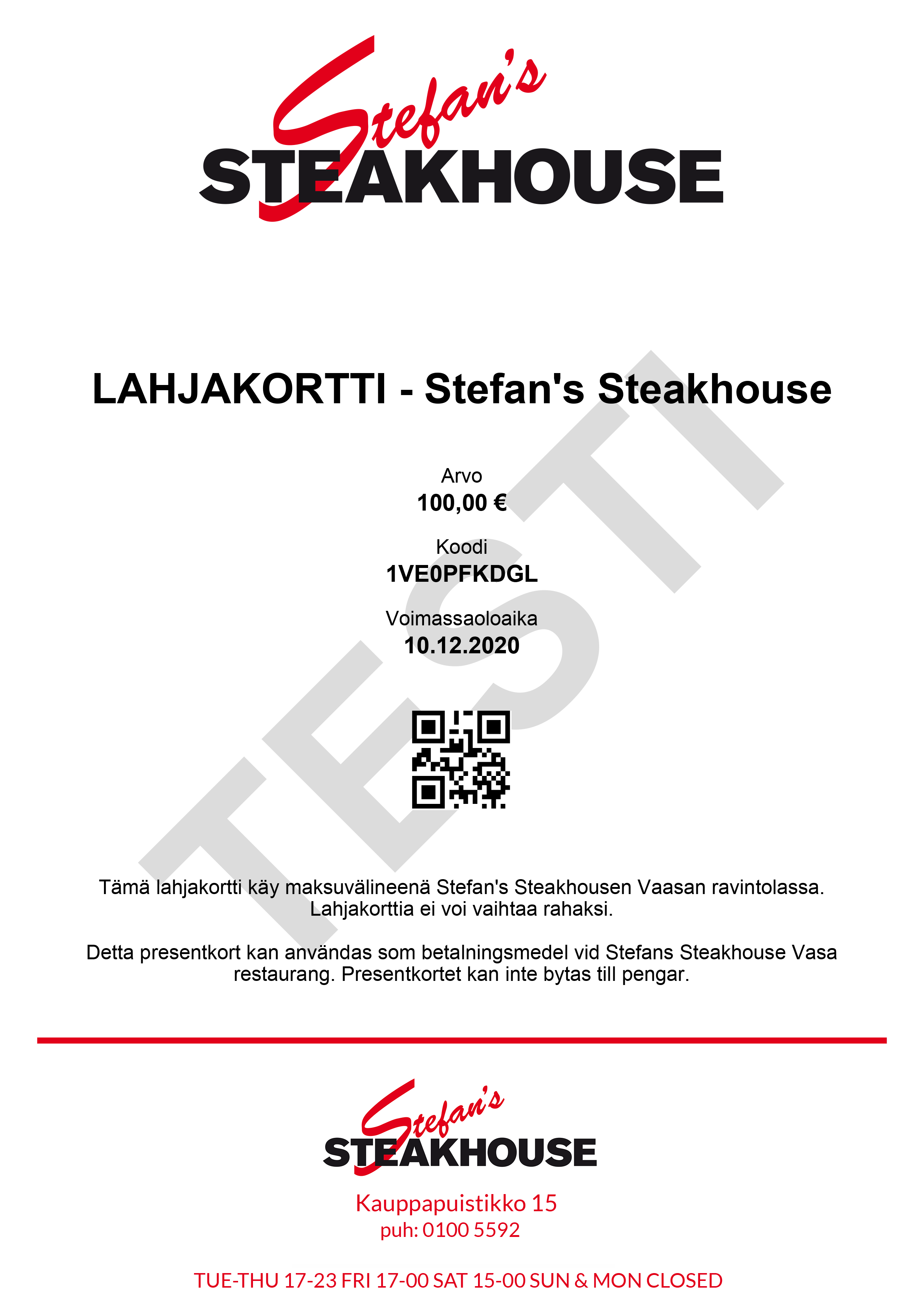 Gift Card - Stefan's Steakhouse 100€