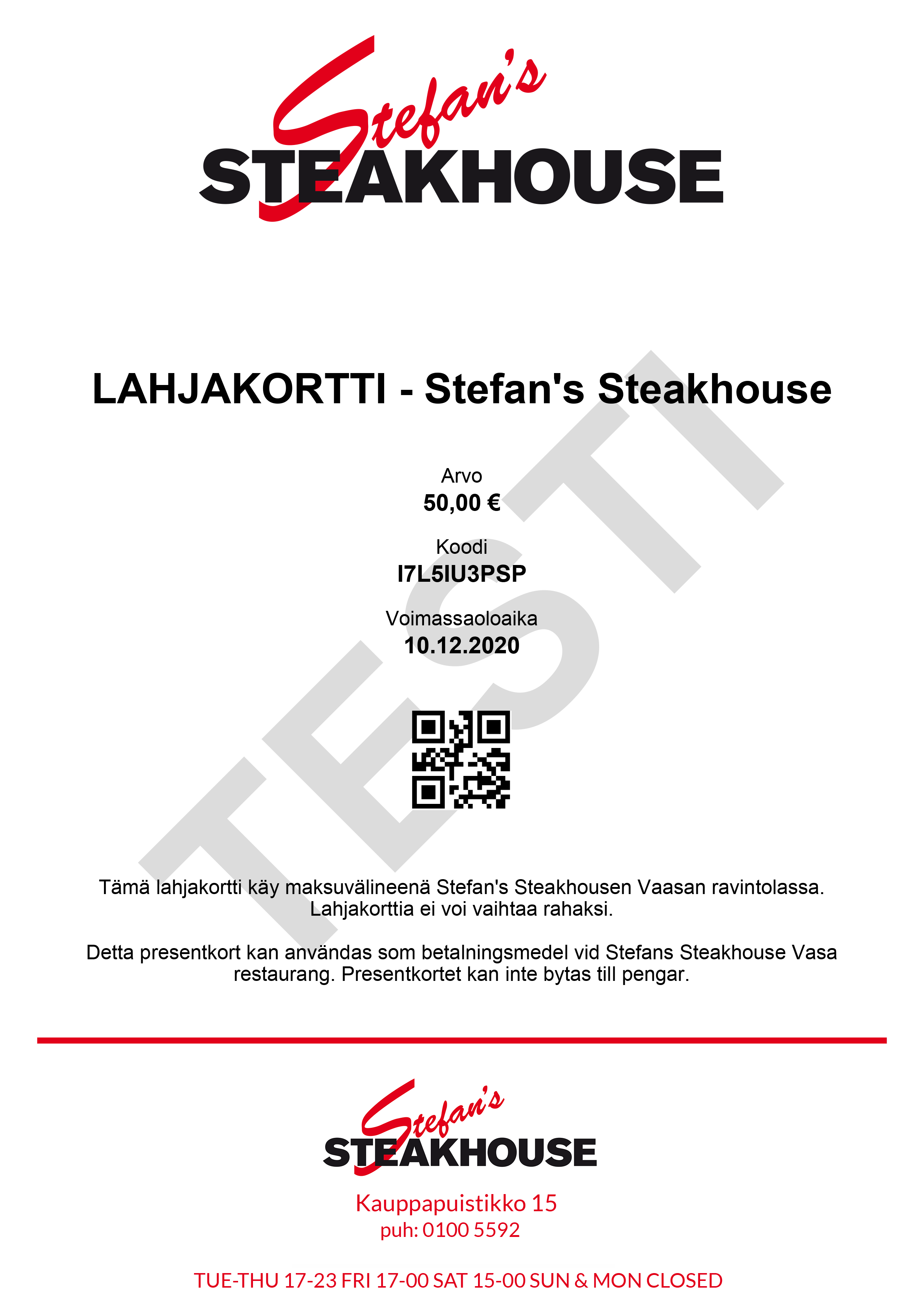 Gift Card - Stefan's Steakhouse 50€